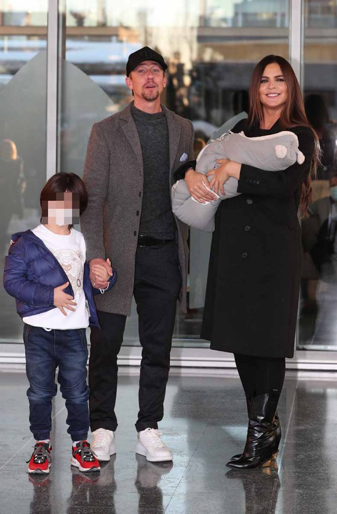 "Romina Belluscio and Jose Maria Gutierrez "" Guti "" during the presentation of their son Romeo in Madrid January 13, 2021"