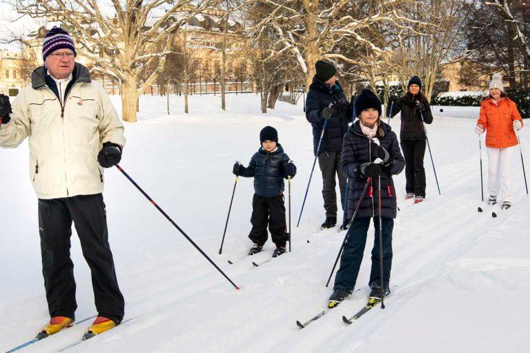 A falta de montaña… la Familia Real sueca esquía en su palacio