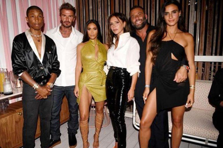 Victoria y David Beckham se van de fiesta con Kim Kardashian y Maluma